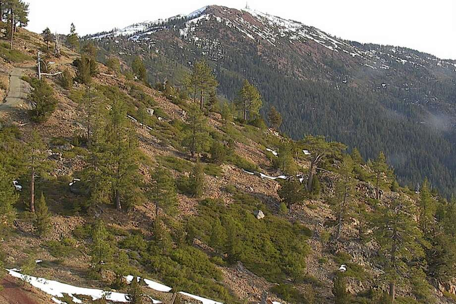Views from the Nevada Seismological Laboratory webcam at Cisco Butte in Placer County on Feb. 28, 2020. The Sierra Nevada is expected to receive its first snowfall in several weeks starting on Saturday. Photo: Nevada Seismo Lab