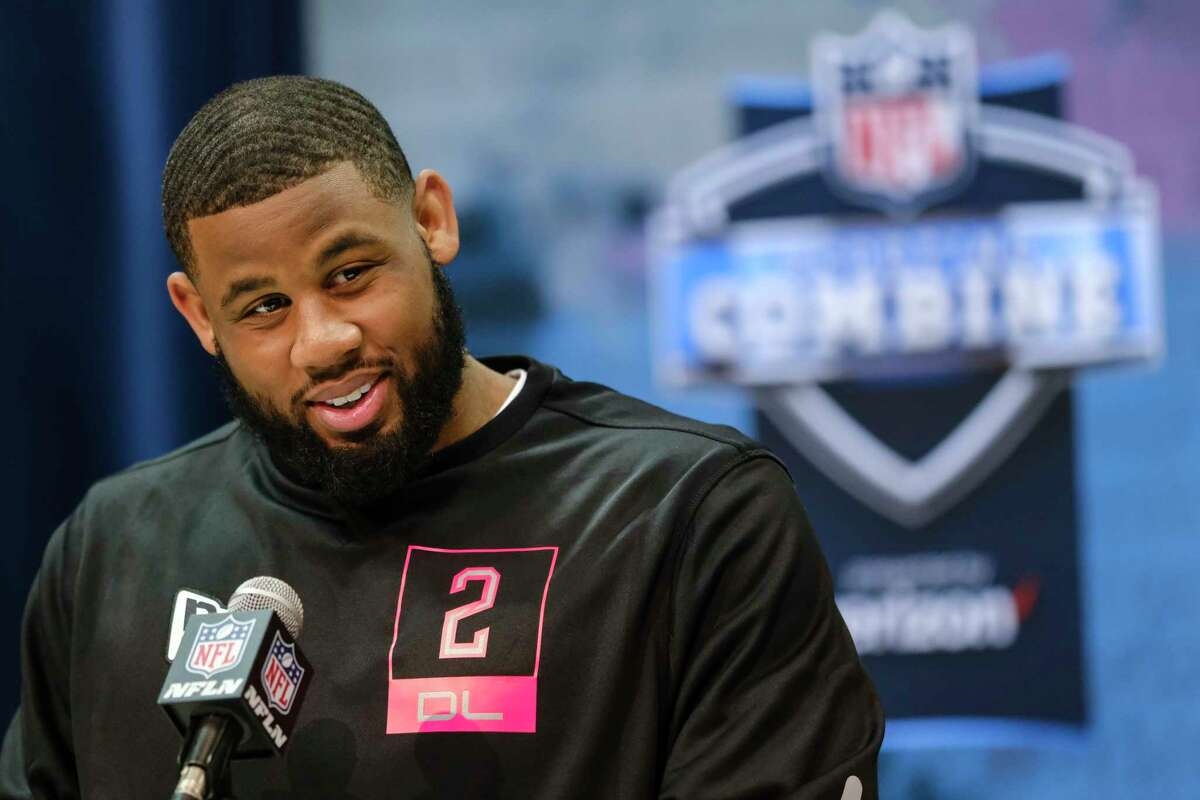 TCU defensive lineman Ross Blacklock speaks during a press conference at the NFL football scouting combine in Indianapolis, Thursday, Feb. 27, 2020. (AP Photo/AJ Mast)