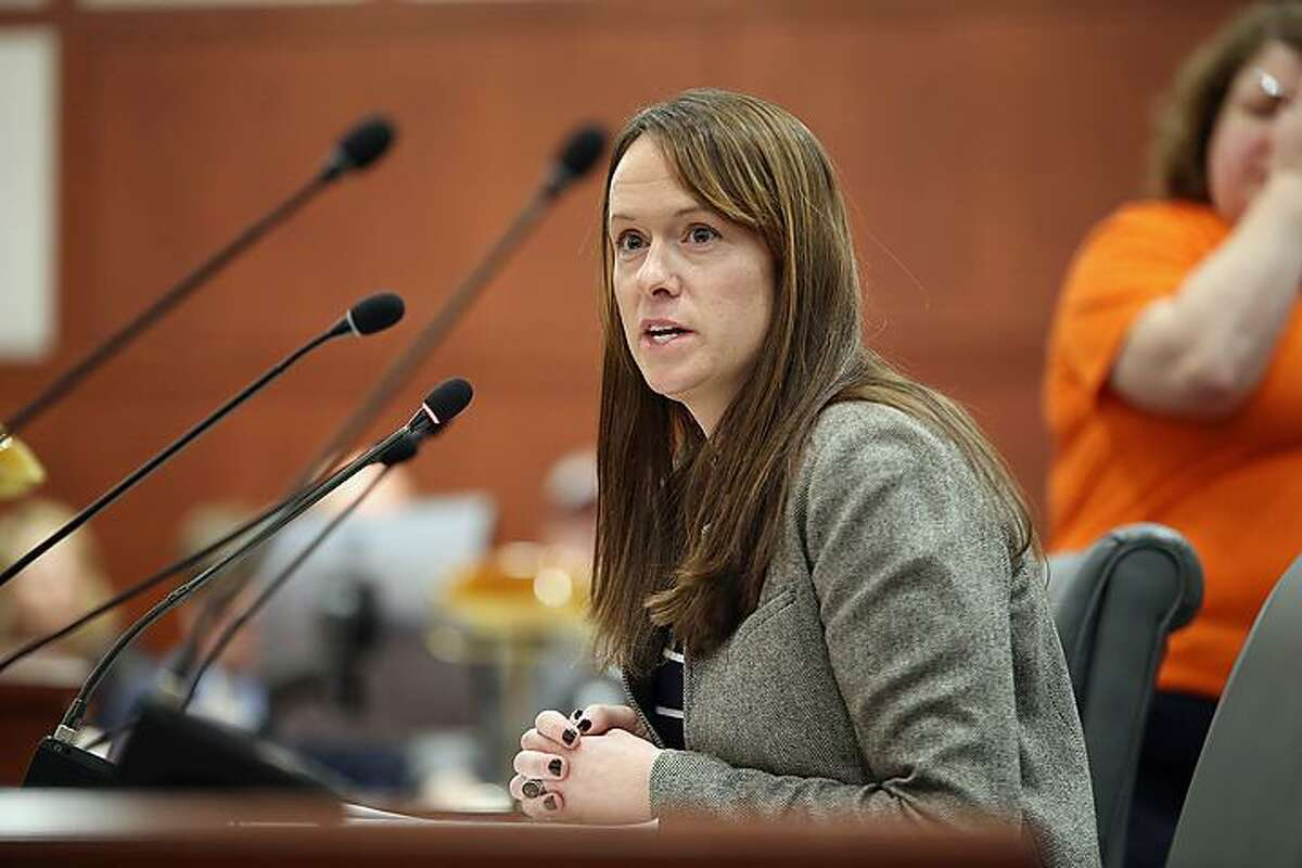 Rep. Jillian Gilchrest, of West Hartford, testifies in favor of the ammunition tax bill.