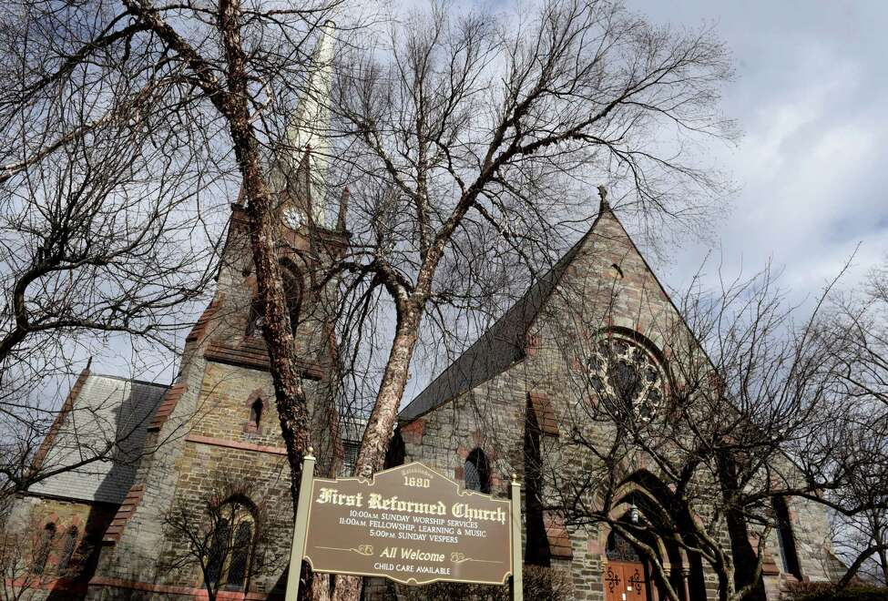 Exterior of First Reformed Church on Friday, Feb. 28, 2020, in the Historic Stockade District of Schenectady, N.Y. (Will Waldron/Times Union)