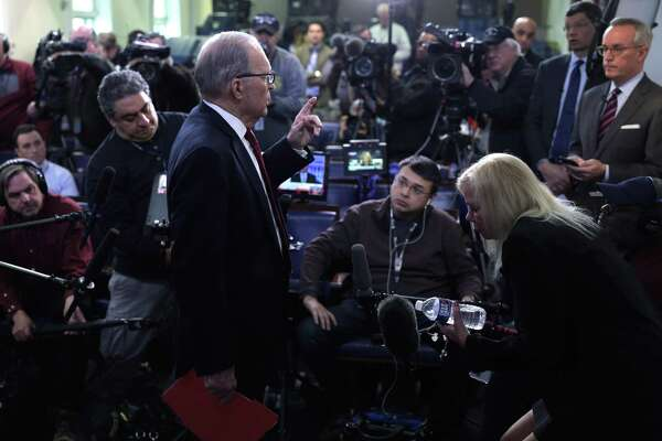Larry Kudlow, director of the National Economic Council who owns a home in Redding, leads a press briefing at the White House on Friday, Feb. 28, 2020. (Photo by Alex Wong/Getty Images)