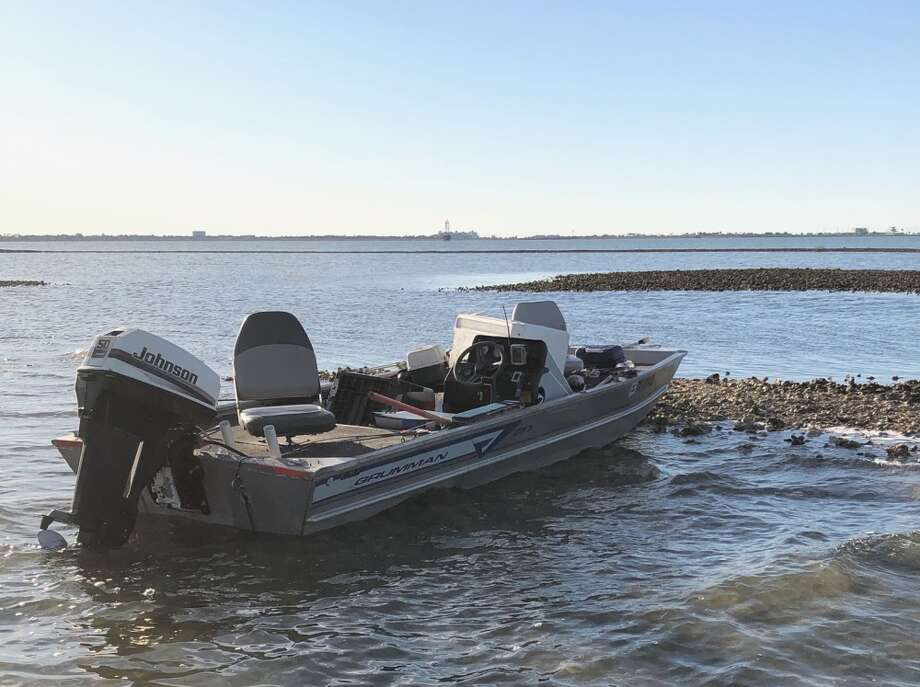An unmanned boat washed ashore in Galveston just south of Tiki Island on Friday, Feb. 28, 2020. Photo: U.S. Coast Guard