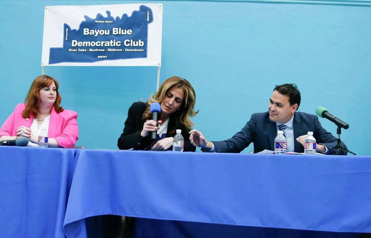 Democratic candidates for Texas' 2nd Congressional District: Elisa Cardnell (from left), Sima Ladjevardian and Travis Olsen, participate in a forum by the Bayou Blue Democratic Club at St. Stephen's Episcopal School in Houston on Wednesday, February 12, 2020. The winner will face Republican Rep. Dan Crenshaw in the general election.