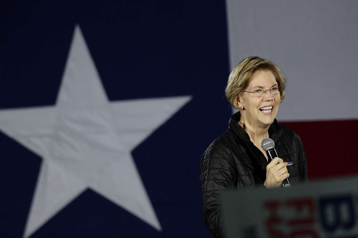 Democratic presidential candidate Sen. Elizabeth Warren, D-Mass., addresses supporters during a town hall in San Antonio. Jennifer Siebel Newsom, wife of California Gov. Gavin Newsom, endorsed her for president on Friday.