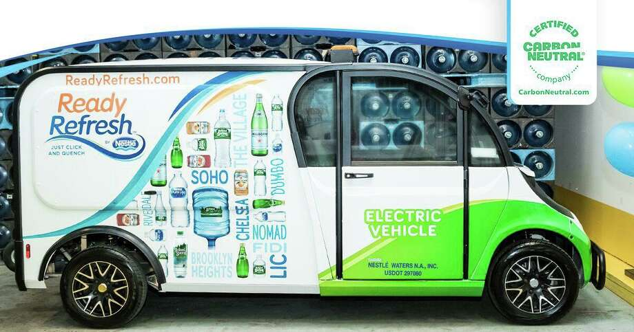 Stamford-based Nestle Waters North America's ReadyRefresh delivery service has earned a certification for carbon neutrality. The business is increasingly using alternative fuel sources, such as electricity, to power its fleet. Photo: Contributed Photo