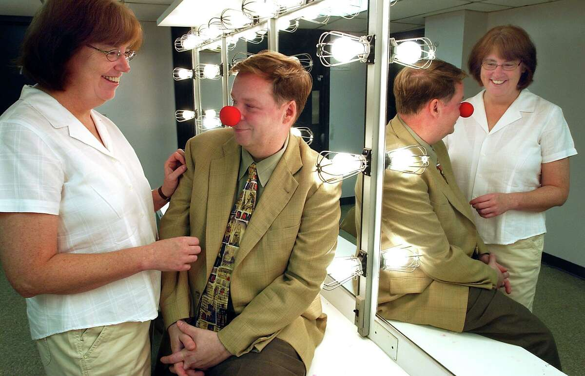 Liz and John Fisher in the dressing room at the Shubert Theater in 2006.