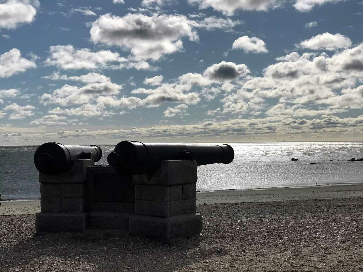 Compo cannons on Compo Beach. Taken Feb. 27, 2020 in Westport, Conn.