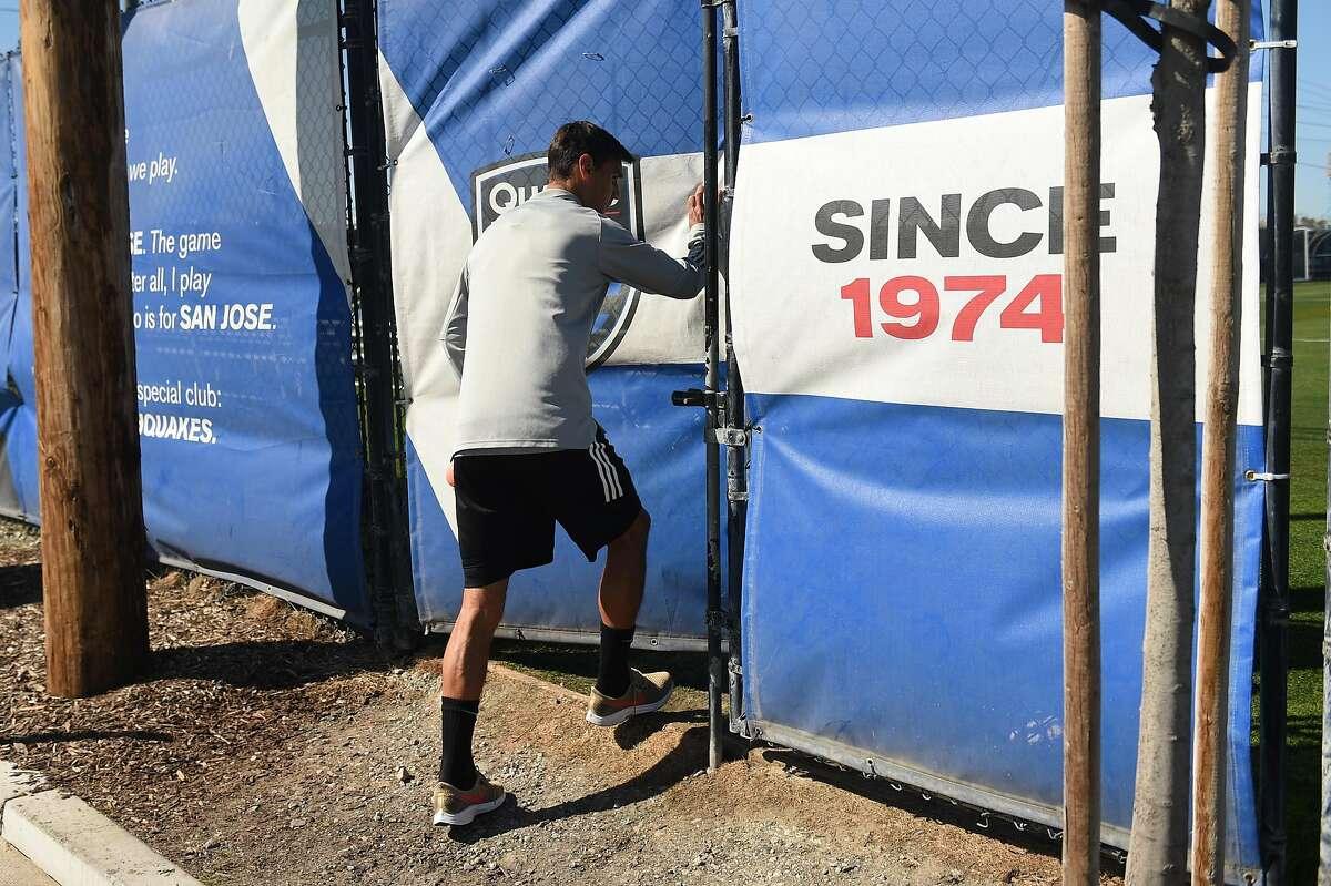 San Jose Earthquakes forward Chris Wondolowski, MLS all-time leading goal scorer, arrives for training session as he prepares to play in his last season, at Avaya Stadium training grounds on Tuesday February 25, 2020.