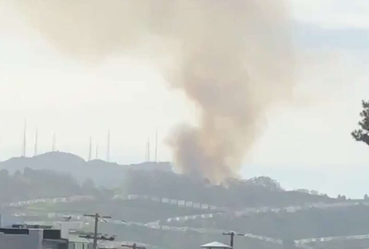 A large plume of smoke could be seen around San Francisco Friday from a grass fire burning in the San Bruno Mountain State and County Park near the picnic.