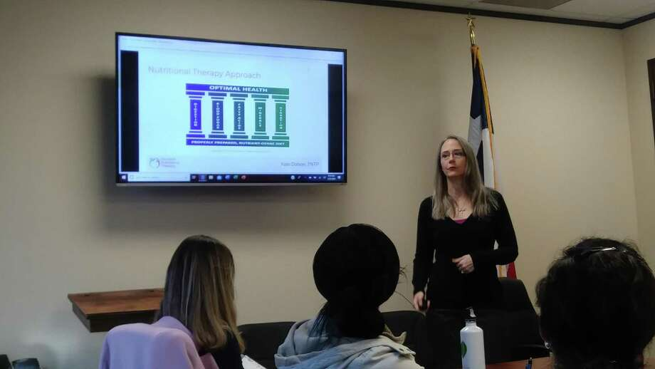 Kate Dodson, nutritional therapy professional and owner of Houston Nutritional Therapy, explained nutritional therapy and health to the Cy-Fair Houston Chamber of Commerce Community Health Committee. Photo: Chevall Pryce
