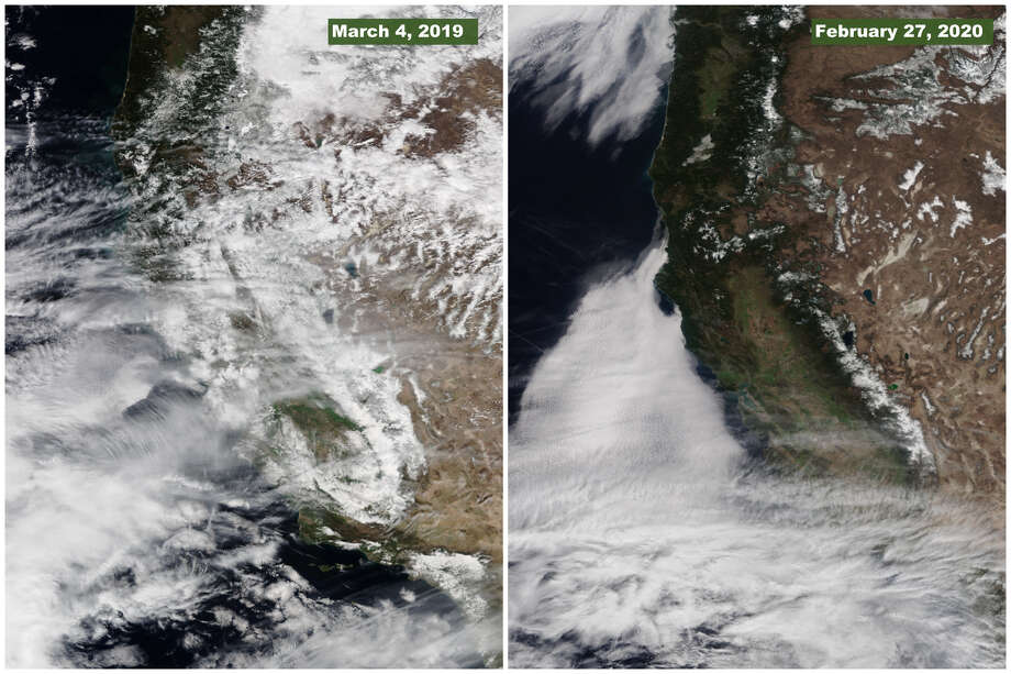 A comparison between the snowpack in the Sierra Nevada mountain range in Mar. 2019 and Feb. 2020 shows the dramatic difference between the snowfall this year and last. Photo: NWS