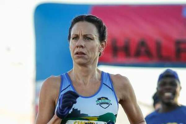 Edwardsville resident Crystal Harriss runs in the California International Marathon on Dec. 2, 2018. Harris posted a time of 2:44.49 and qualified for the U.S. Olympic Marathon Trials, scheduled for Saturday in Atlanta.