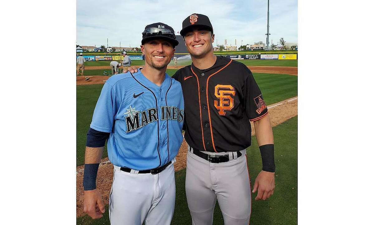 San Francisco Giants prospect Hunter Bishop, right, and his brother, Braden Bishop, of the Seattle Mariners.