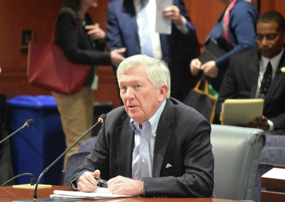 First Selectman Kevin Moynihan (R-New Canaan) asks the Connecticut General Assembly transportation committee to invest in the New Canaan Branch train line recently. Photo: Contributed Photo