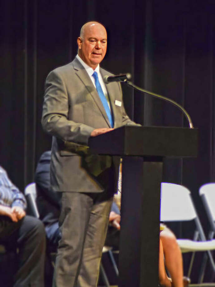 Mark Boie, a Republican candidate in the 2020 primary for the Illinois 5th District Appellate Court judge in the General Election, talks to a crowd at the Wildey Theatre Wednesday night during an informational meet and greet hosted by the League of Women Voters of Edwardsville. The event included candidates running for: Madison County State's Attorney; Madison County Board Member District 17; Appellate Court 5th District; 5th District Supreme Court; US Congressional District 12; US Congressional District 13, and US Congressional District 15. Photo: Tyler Pletsch   The Intelligencer
