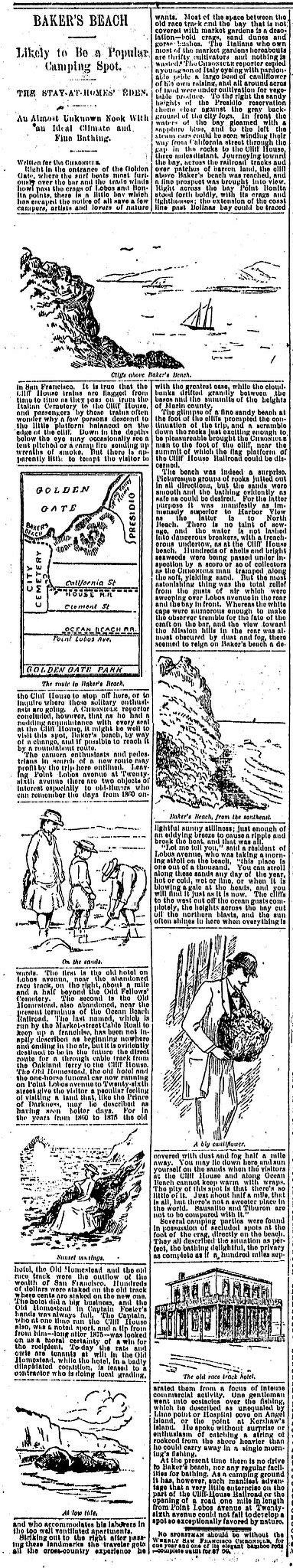 The charms of Baker's Beach are described in a Chronicle story on beaches on September 10, 1889