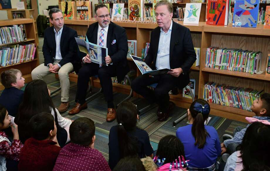 State Senate Majority Leader Bob Duff, Education State Department of Education Commissioner Miguel Cardona and Governor Ned Lamont visit Silvermine Dual Language Magnet School Friday, February 28, 2020, to read to students inrecognition of Read Across America at the school in Norwalk, Conn.. Photo: Erik Trautmann / Hearst Connecticut Media / Norwalk Hour