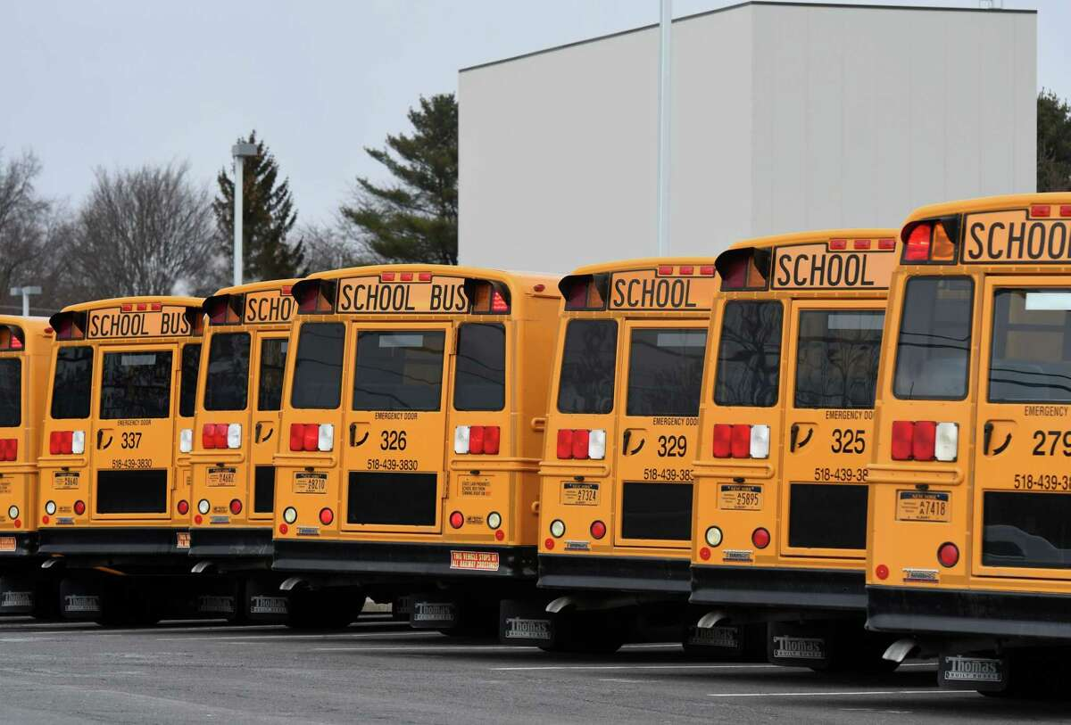 Busses are lined up for dismissal for dismissal at Bethlehem High School on Friday, Feb. 28, 2020, in Bethlehem, N.Y. The Bethlehem Central School District is considering switching to a later start time. (Will Waldron/Times Union)