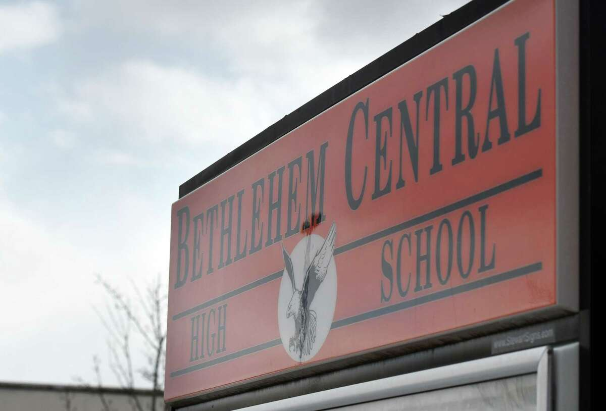 Exterior sign at Bethlehem High School on Friday, Feb. 28, 2020, in Bethlehem, N.Y. The Bethlehem Central School District is considering switching to a later start time. (Will Waldron/Times Union)