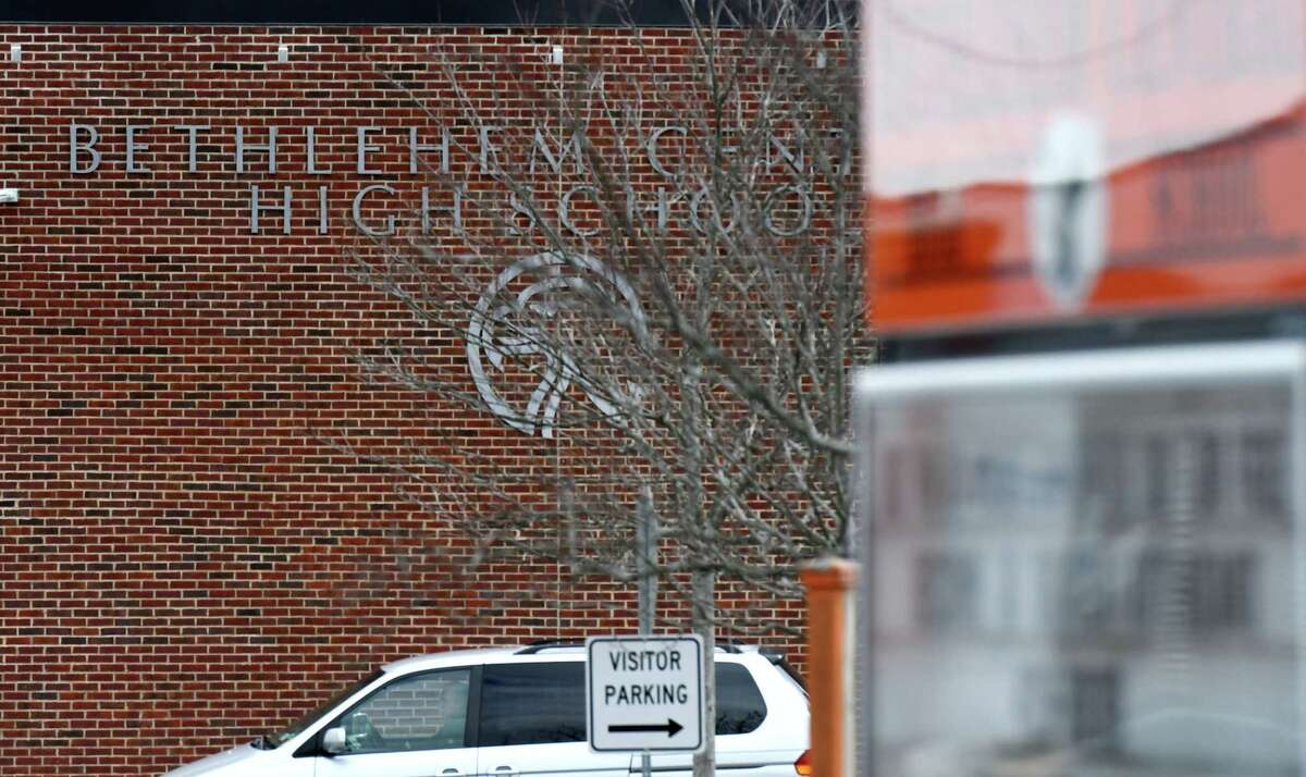Exterior of Bethlehem High School on Friday, Feb. 28, 2020, in Bethlehem, N.Y. The Bethlehem Central School District is considering switching to a later start time. (Will Waldron/Times Union)