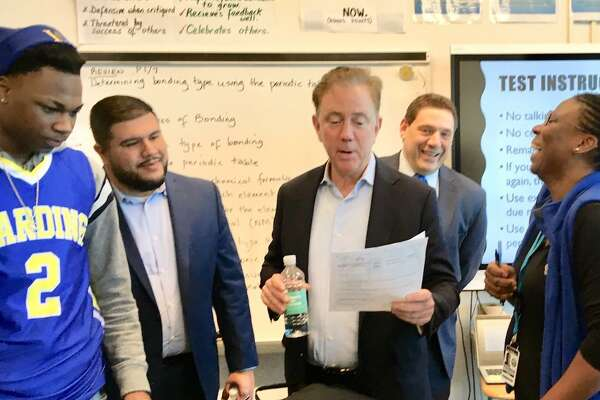Gov. Ned Lamont visits a Harding High School classroom in Bridgeport on Feb. 28.