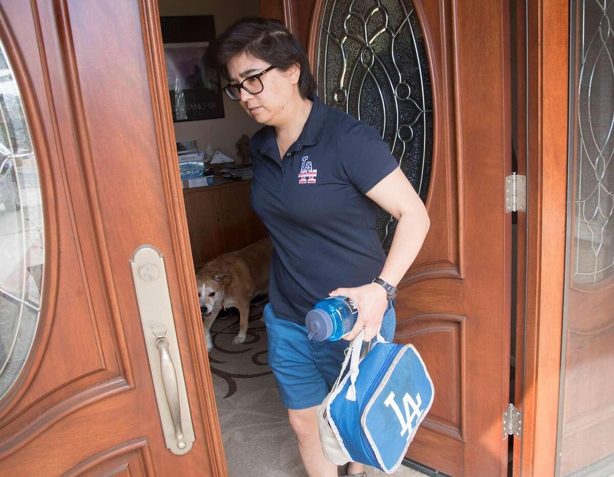 February 28, 2020 - LeighAnn Rorex heads out on a errand after 14 day in coronavirus quarantine in Hacienda Heights, California. (Ana Venegas