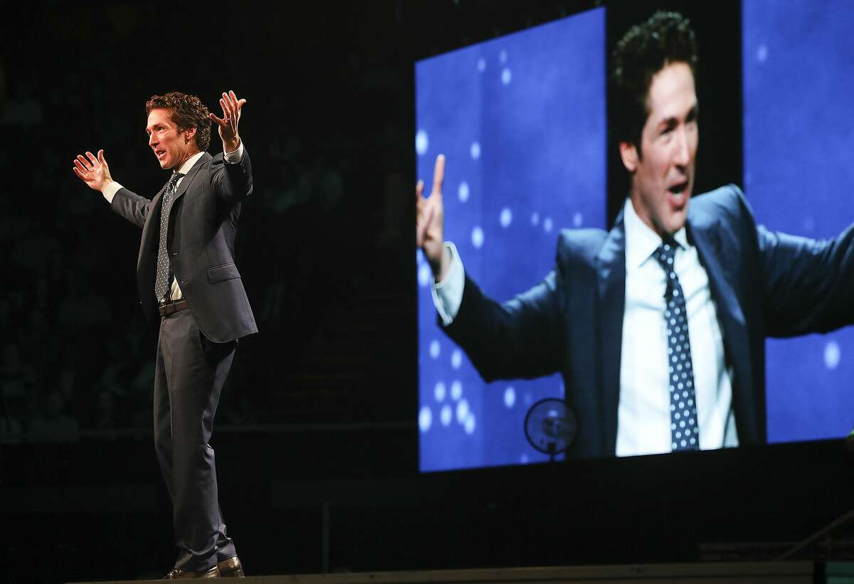 """Minister Joel Osteen holds """"A Night of Hope"""" event on Saturday, Oct. 28, 2017, in Los Angeles. ( Elizabeth Conley / Houston Chronicle )"""