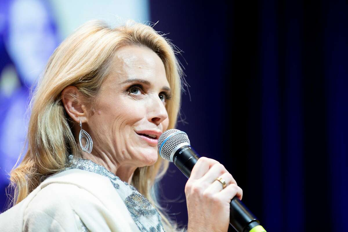 First partner Jennifer Siebel Newsom moderating a talk with Speaker of the House Nancy Pelosi (D-Calif.) (not pictured) during �California Votes for Women: A Golden State Suffrage Celebration,� an event at the California Museum on Saturday, Nov. 9, 2019, in Sacramento, Calif.