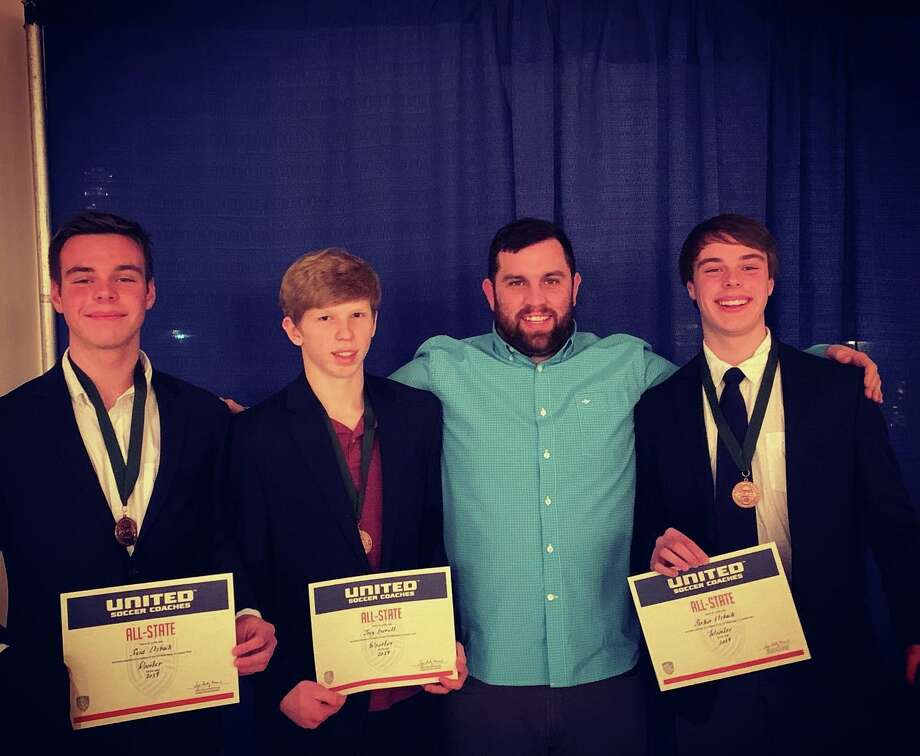 Three Wooster School students were selected to the United Soccer Coaches Association All-State Team. From left to right: Reid Etzbach '22, Joey Everett '20, Coach Kevin Malta, Parker Etzbach '22 Photo: Contributed Photo / Contributed / The News-Times Contributed