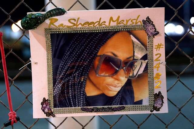 Memorial for RaSheeda Marsh at Port of Oakland West Gate in Oakland, Calif., on Tuesday, February 25, 2020.