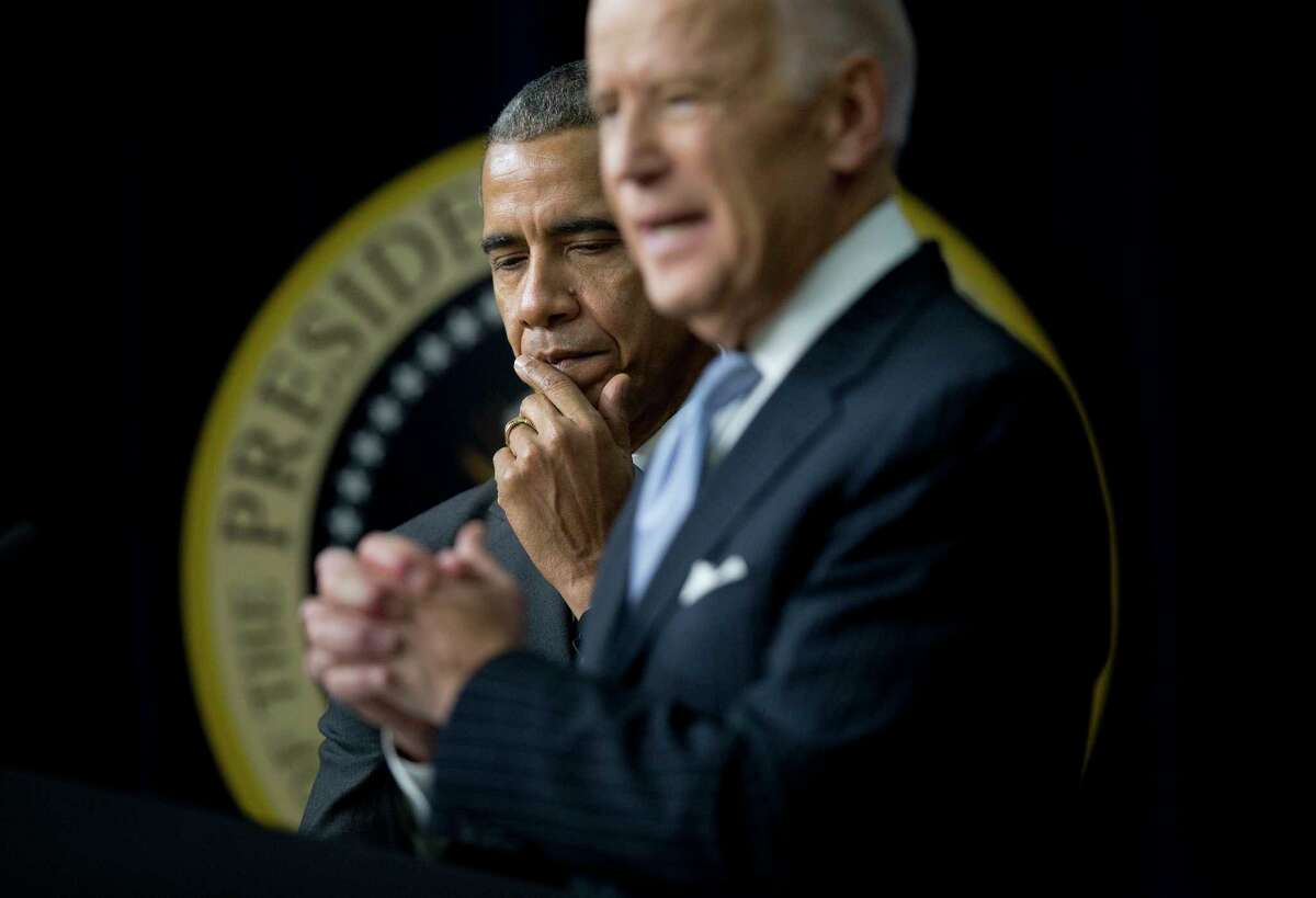 President Barack Obama listens as Vice President Joe Biden speaks in 2016. A reader is curious why Obama has not endorsed Biden during his run for president.