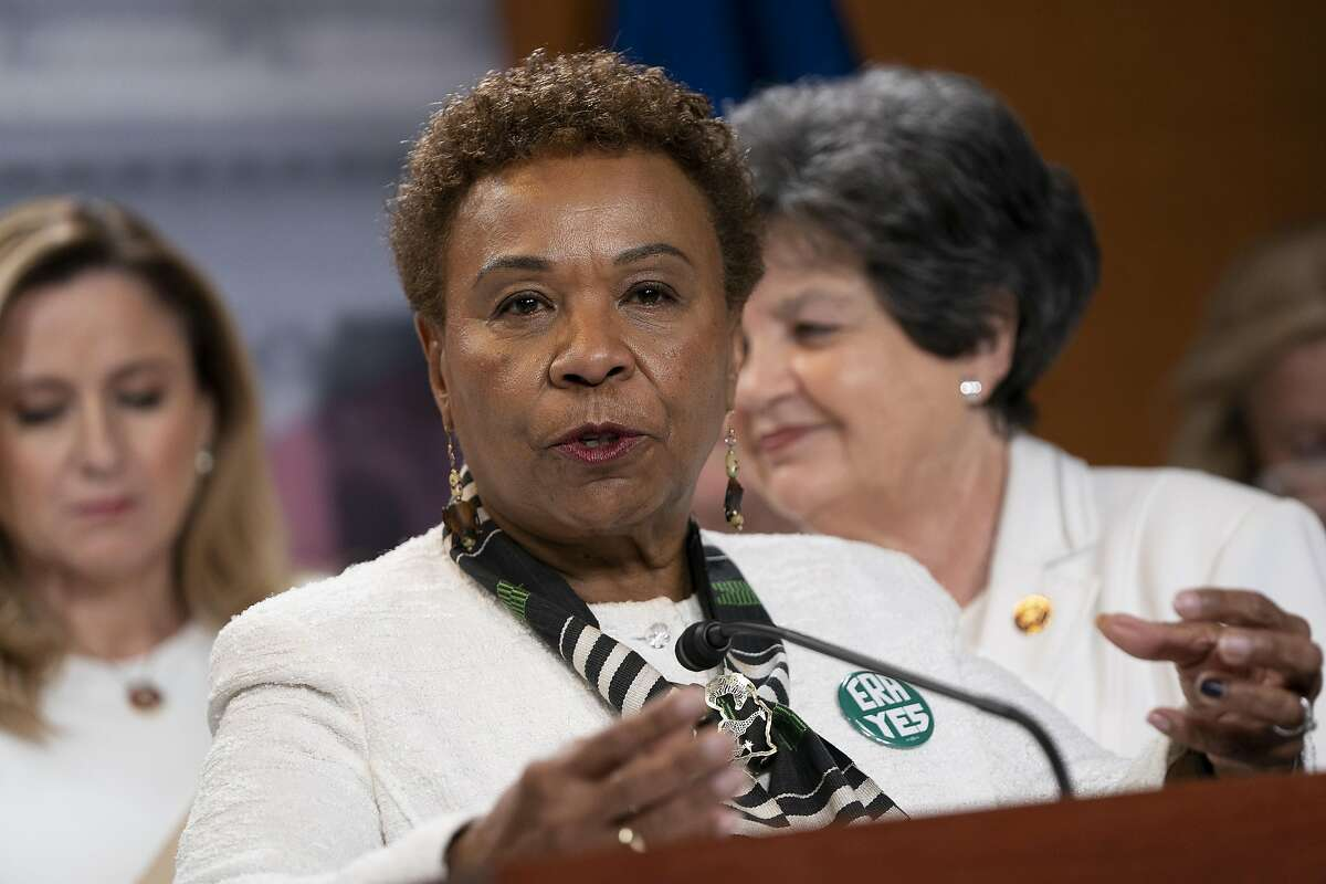 Rep. Barbara Lee speaks during a news conference with members of the Democratic Women's Caucus prior to State of the Union at the U.S. Capitol on Feb. 4, 2020, in Washington, D.C. The group of women is wearing white to commemorate the anniversary of the passage of the 19th Amendment to the U.S. Constitution.
