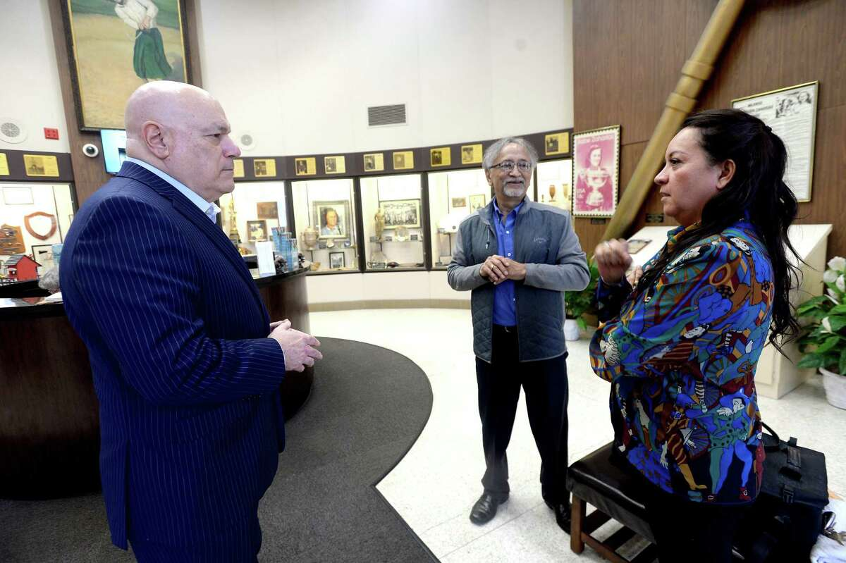 Tony Webber and Magali Rojas of Southwest Museum Services talk with W. L. Pate as they begin their evaluation and inventory of the exhibits and space at the Babe Zaharias Museum as plans for renovation begin Thursday, Feb, 20. Photo taken Thursday, February 20, 2020 Kim Brent/The Enterprise