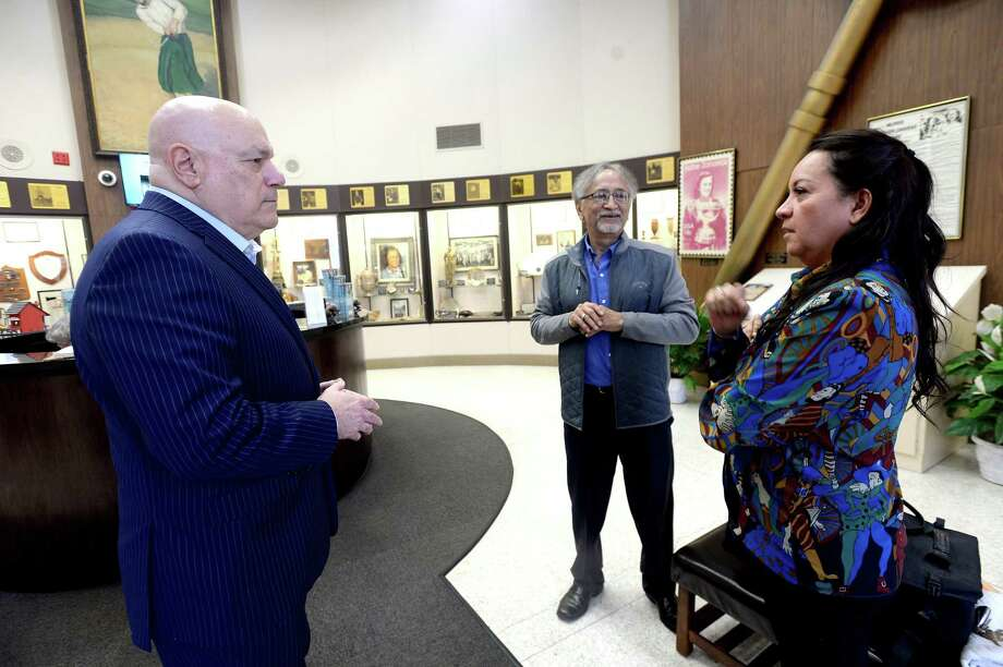 Tony Webber and Magali Rojas of Southwest Museum Services talk with W. L. Pate as they begin their evaluation and inventory of the exhibits and space at the Babe Zaharias Museum as plans for renovation begin Thursday, Feb, 20.  Photo taken Thursday, February 20, 2020 Kim Brent/The Enterprise Photo: Kim Brent / The Enterprise / BEN