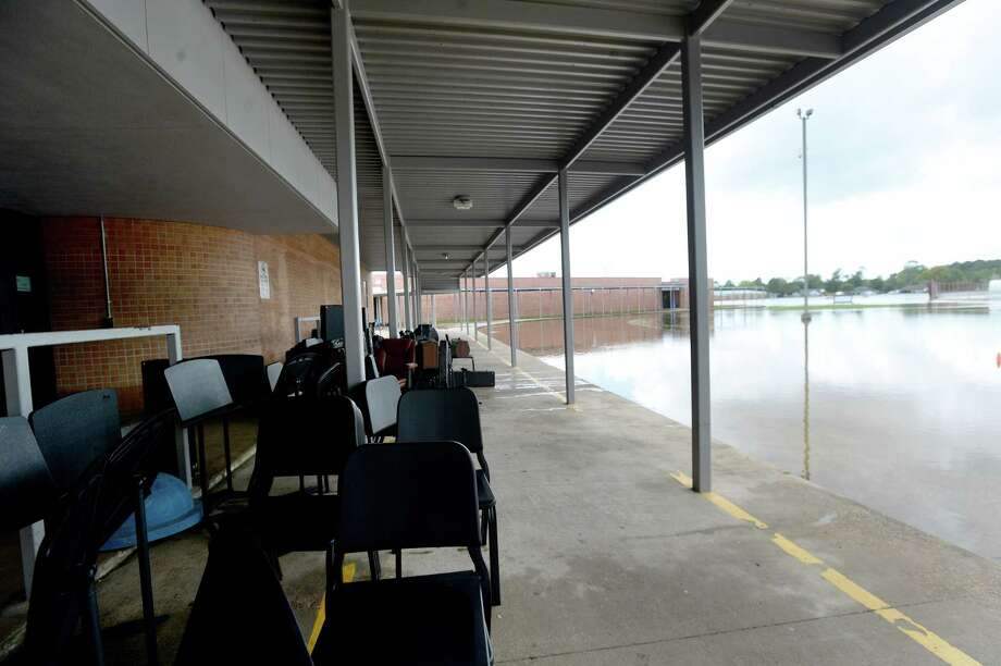 Band equipment sits outside to dry at Hamshire-Fannett Middle School, where every building on campus sustained flood damage from Imelda's heavy rainfall Thursday. District and school personnel were at the site evaluating the damage and meeting with contractors to begin the renovation process. School will be cancelled next week as they also formulate a plan for where students will go to continue classes this year. Photo taken Saturday, September 21, 2019 Kim Brent/The Enterprise Photo: Kim Brent / Kim Brent/The Enterprise / BEN