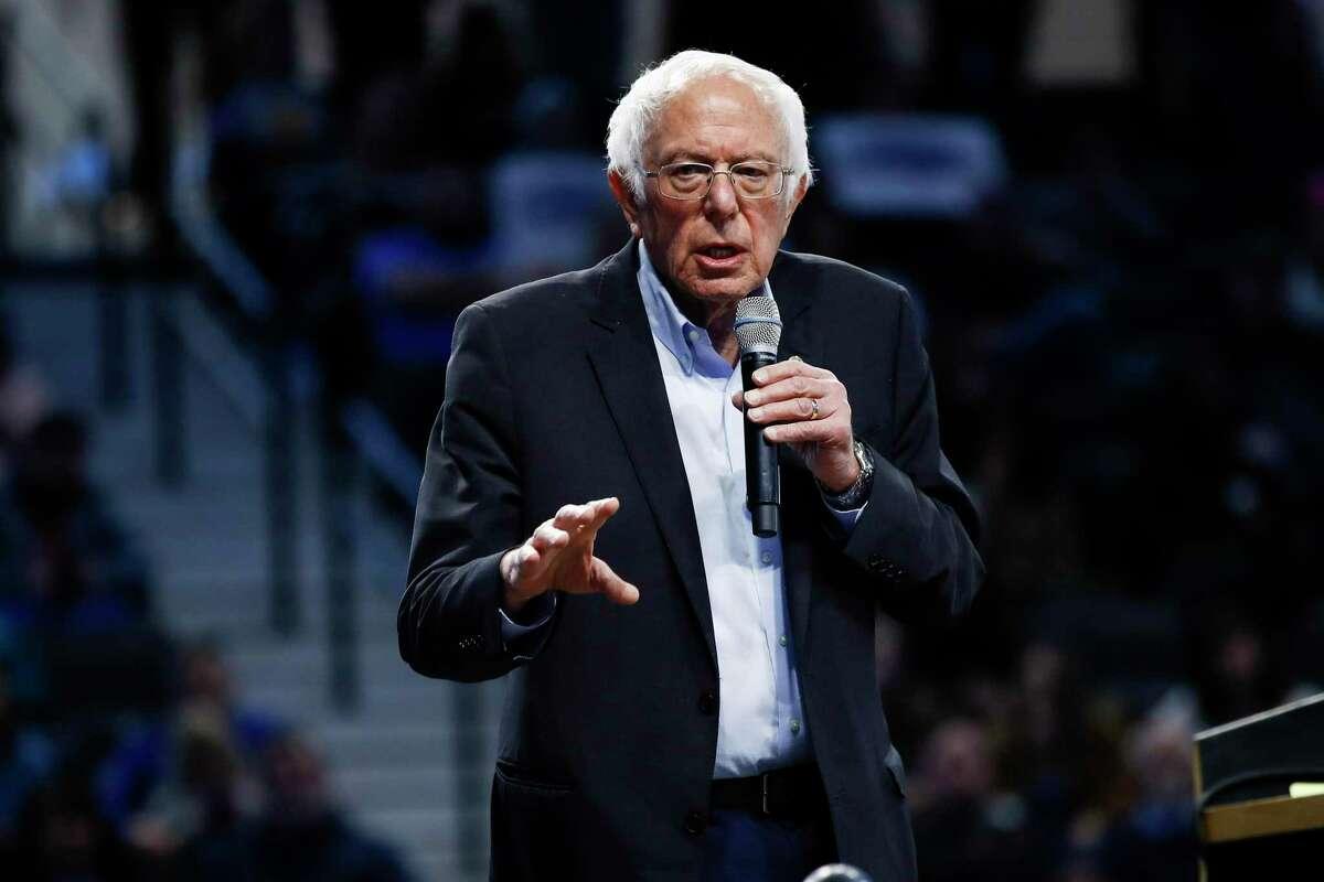 Democratic presidential candidate Sen. Bernie Sanders, I-Vt., speaks during a campaign event, Thursday, Feb. 27, 2020, in Spartanburg, S.C. (AP Photo/Matt Rourke)