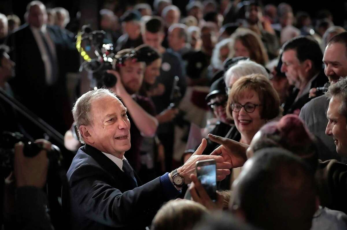 Bloomberg fans greet their candidate at Minglewood Hall after Democratic presidential contender Michael Bloomberg delivered his stump speech during a campaign stop in Memphis, Tenn. on Feb. 28, 2020. (Jim Weber/Daily Memphian via AP)