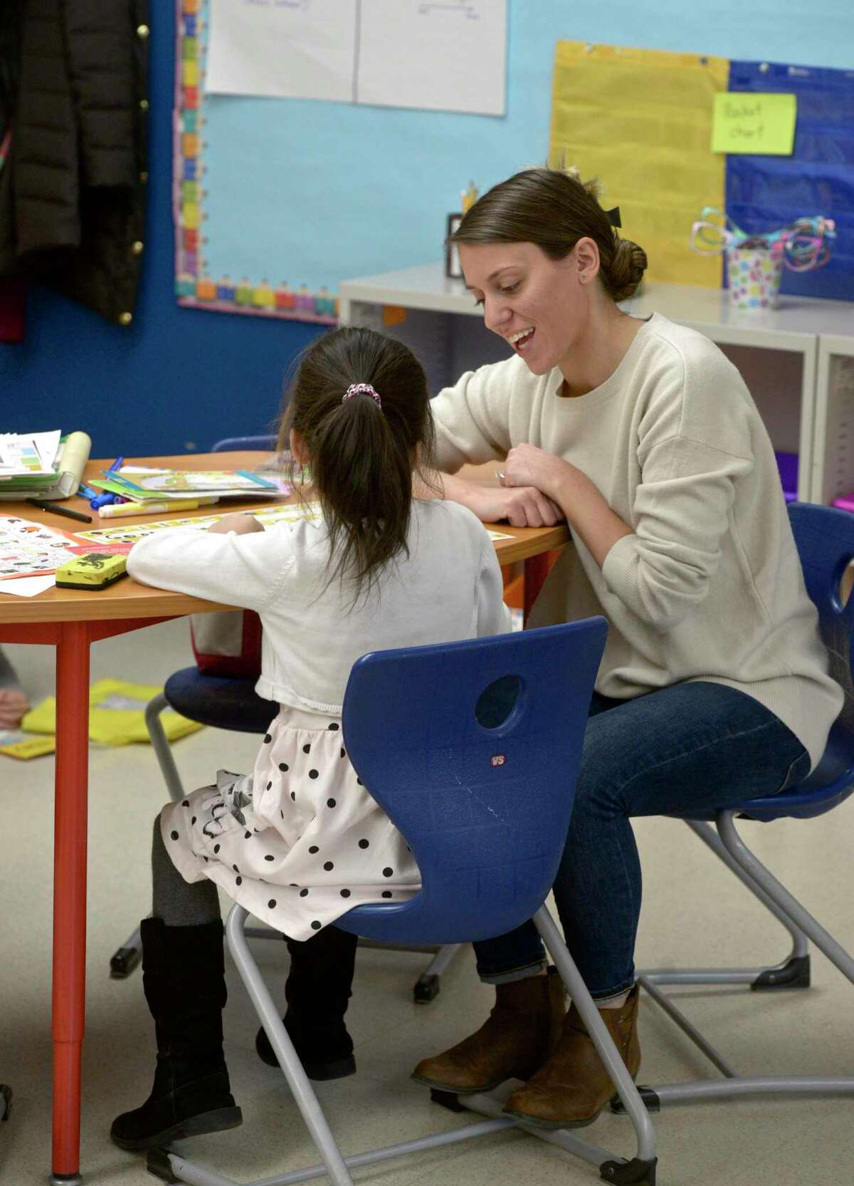 First Grade teacher Diana Heitor works with a student at Ellsworth Avenue Elementary school using ELL strategies in the classroom. Friday, February 28, 2020, in Danbury, Conn.
