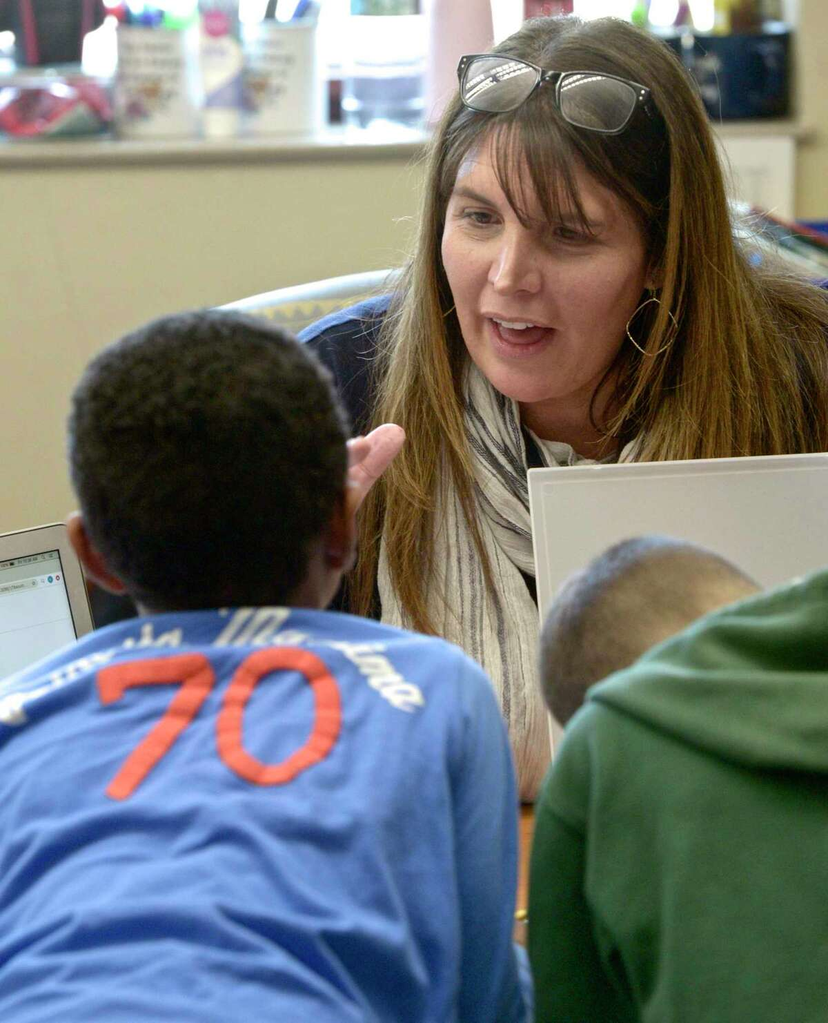 Second Grade teacher Kathy Hamilton works with students at Ellsworth Avenue Elementary school using ELL strategies in the classroom. Friday, February 28, 2020, in Danbury, Conn.