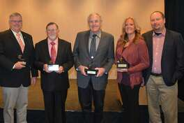 2020 High Cotton Winners, from left, are cotton producers: Greg Wuertz, Coolidge, Ariz.; Larry Ford, Greenwood, Fla.; Dan Smith, Lockney, Texas; and Matt/Kelly Griggs, Humboldt, Tennessee.