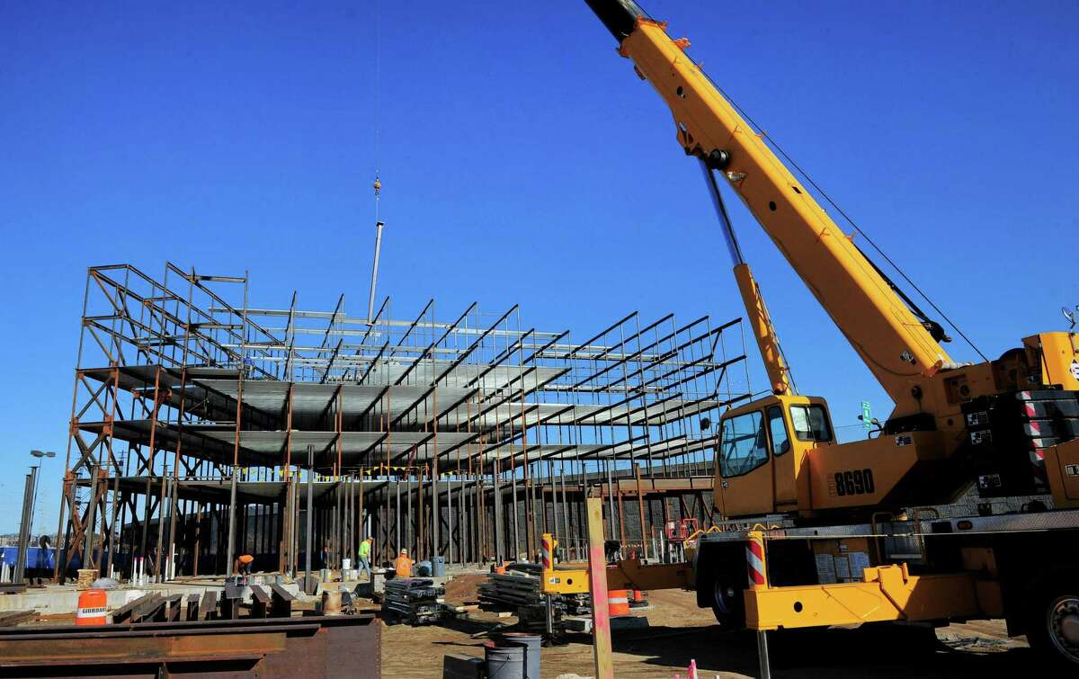 Construction of a building on what was once Sidney Street in Stratford on Feb. 21. Urstadt Biddle Properties, which owns The Dock shopping center nearby, is building a five-story self-storage facility and a retail building.