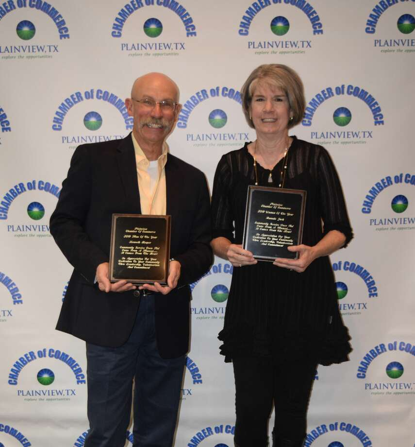 Kenneth Hooper and Ranada Jack are the 2019 Man & Woman of the Year. They were recognized Thursday night during the Plainview Chamber of Commerce's annual banquet. Photo: Courtesy Photos/Plainview Chamber Of Commerce