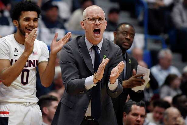 UConn coach Dan Hurley cheers on his team during a February game against UCF in Hartford.