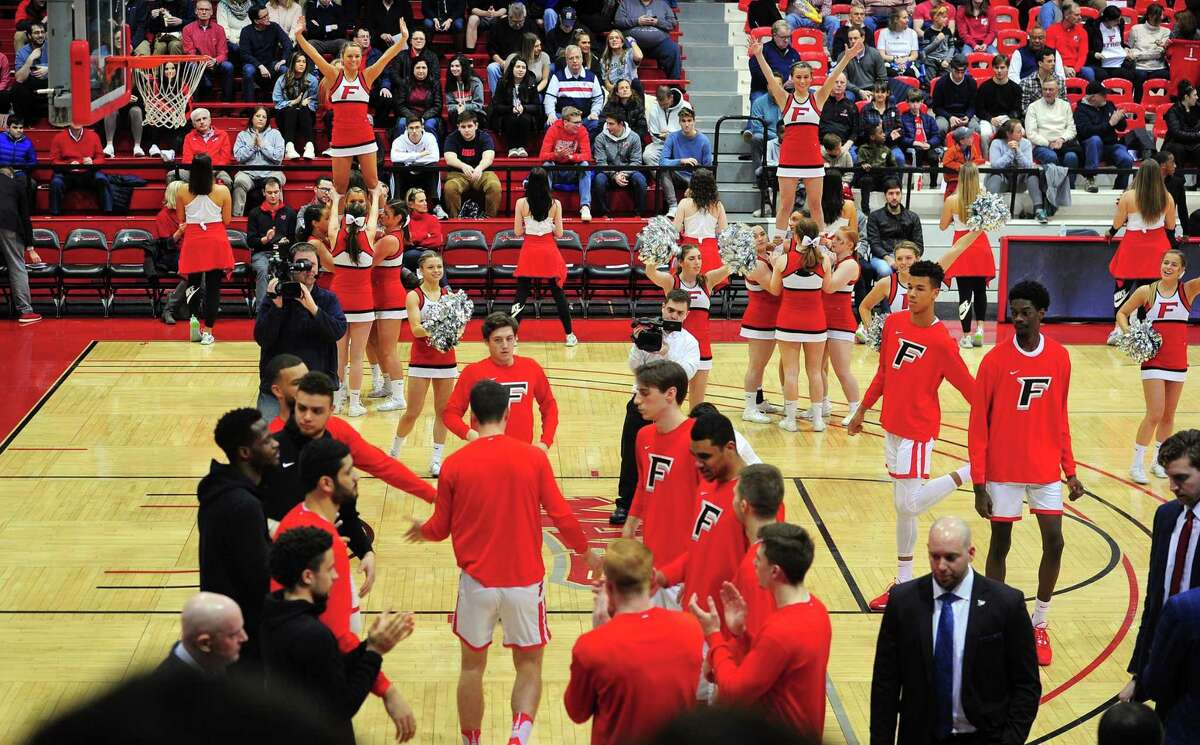 The Fairfield University men's college basketball team take the court at Fairfield University's Alumni Hall in Fairfield, Conn., on Friday Feb. 28, 2020. This will be an end of an era for the old hall which will be replaced next year with a new facility. The last men's game that will be played at the hall will be on Sunday.