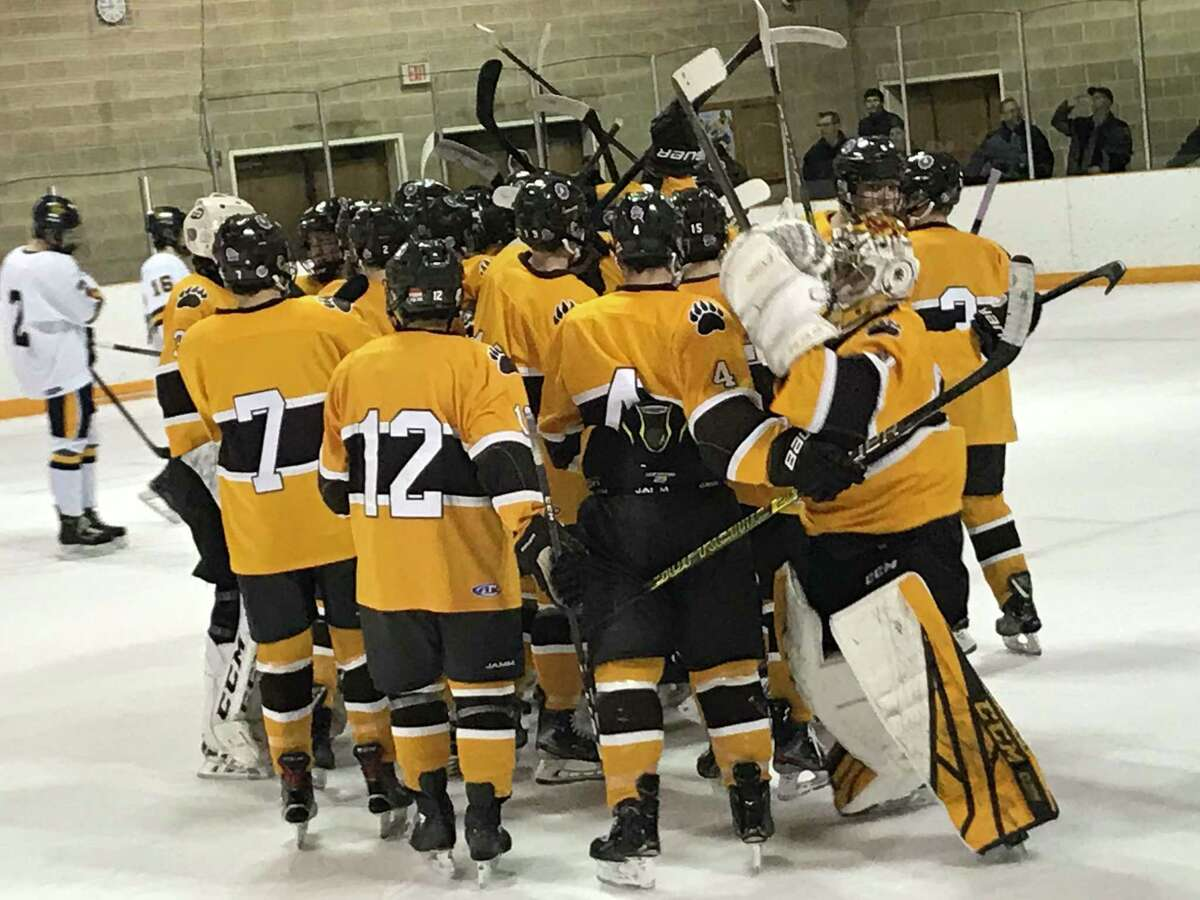 The Brunswick hockey team celebrates its 4-3 overtime win over Trinity-Pawling on Friday, Feb. 28, 2020, in Greenwich, Connecticut.