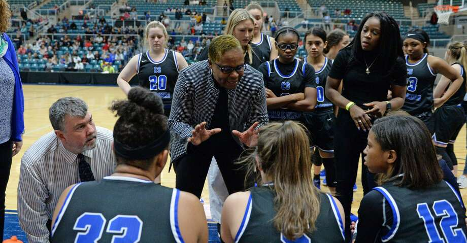 Clear Springs Head Coach Pamela Crawford talks to her team during a time out late in the fourth quarter of a Girls 6A Region III semifinal play-off game between the Ridge Point Panthers and the Clear Springs Chargers on Friday, February 28, 2020 at the Leonard Merrell Center, Katy, TX. Photo: Craig Moseley/Staff Photographer