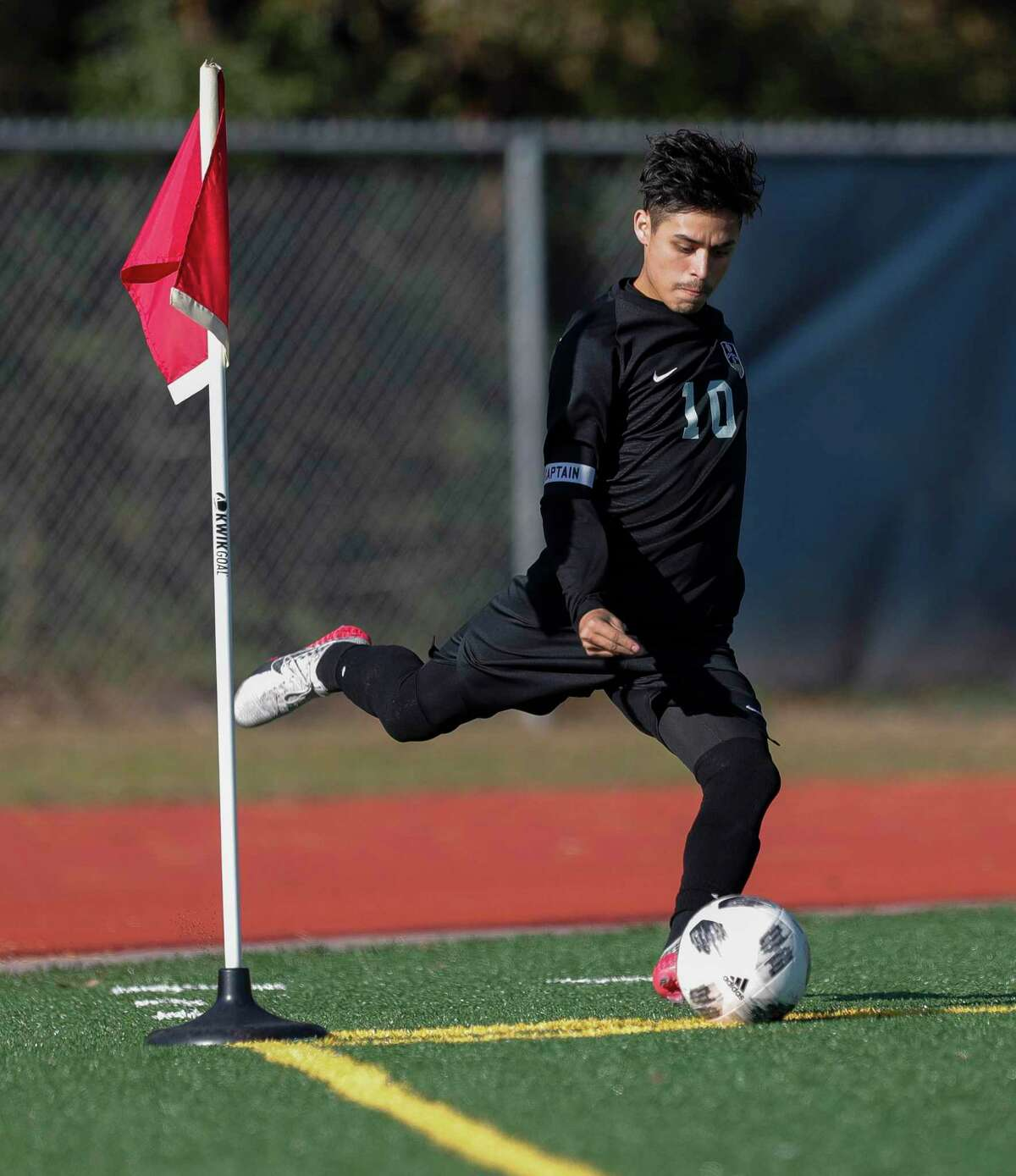 FILE PHOTO - Conroe's Danny Bonilla (10) takes a corner kick in the first period of a match during the Humble ISD soccer tournament at Atascocita High School, Saturday, Jan. 11, 2020, in Atascocita.