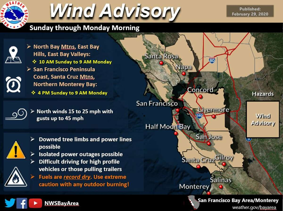 With gusty northeast winds expected to pick up, a wind advisory is in effect for the North Bay mountains and East Bay hills and valleys 10 a.m. Sunday to 9 a.m. Monday. An advisory was also issued for the San Francisco peninsula coast, the Santa Cruz Mountains and northern Monterey Bay for 4 p.m. Sunday to 9 a.m. Monday.