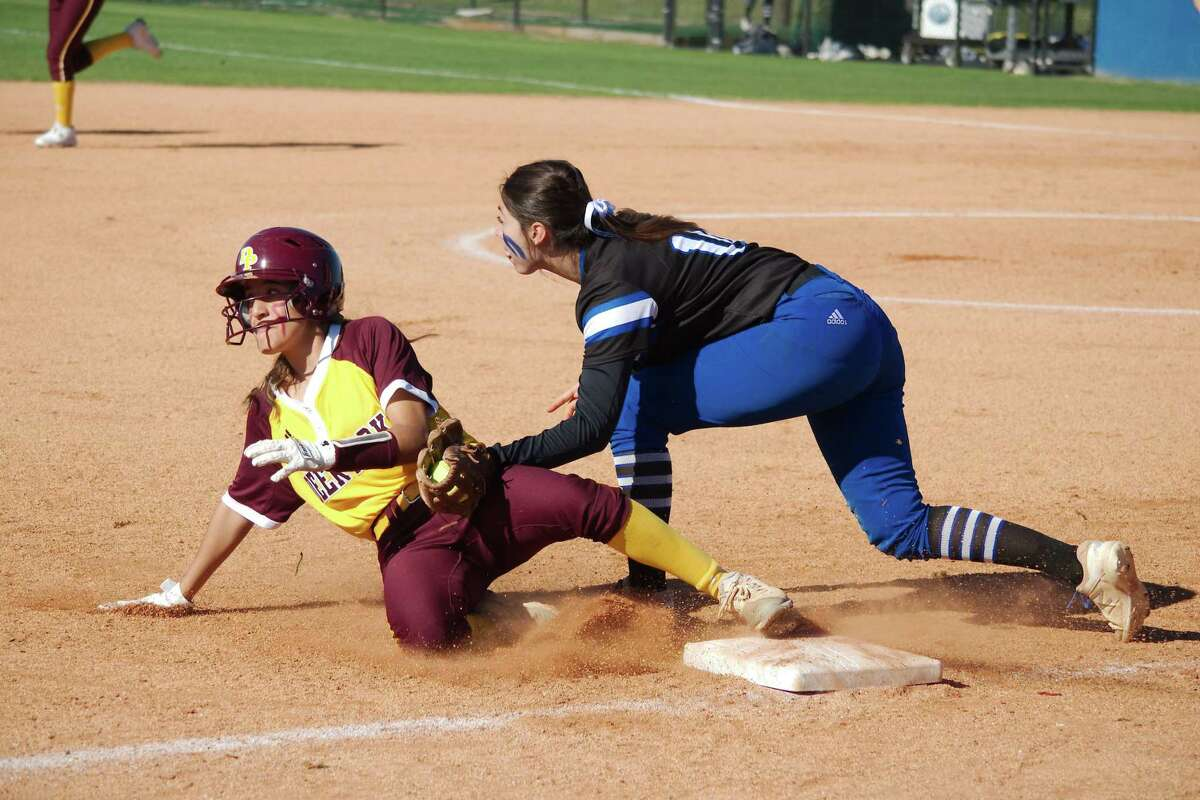 Friendswood third baseman K.K. Esparza (10) is one of many returning starters in the Lady Mustang lineup.