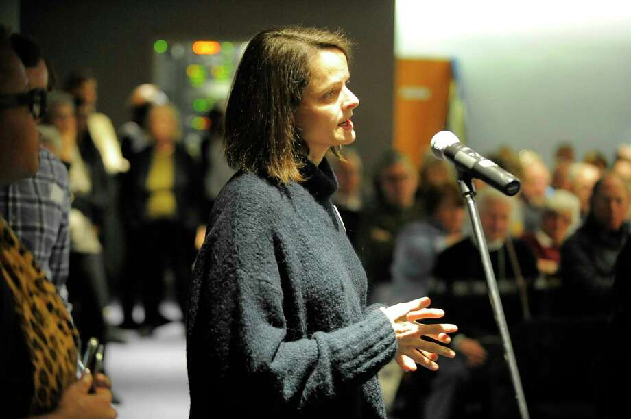 Wendy Skratt of Stamford, addresses U.S. Rep. Jim Himes, D-Conn, during a town hall meeting at UConn Stamford General Re Auditorium in Stamford, Conn. on March 4, 2017. Photo: Matthew Brown / Hearst Connecticut Media / Stamford Advocate